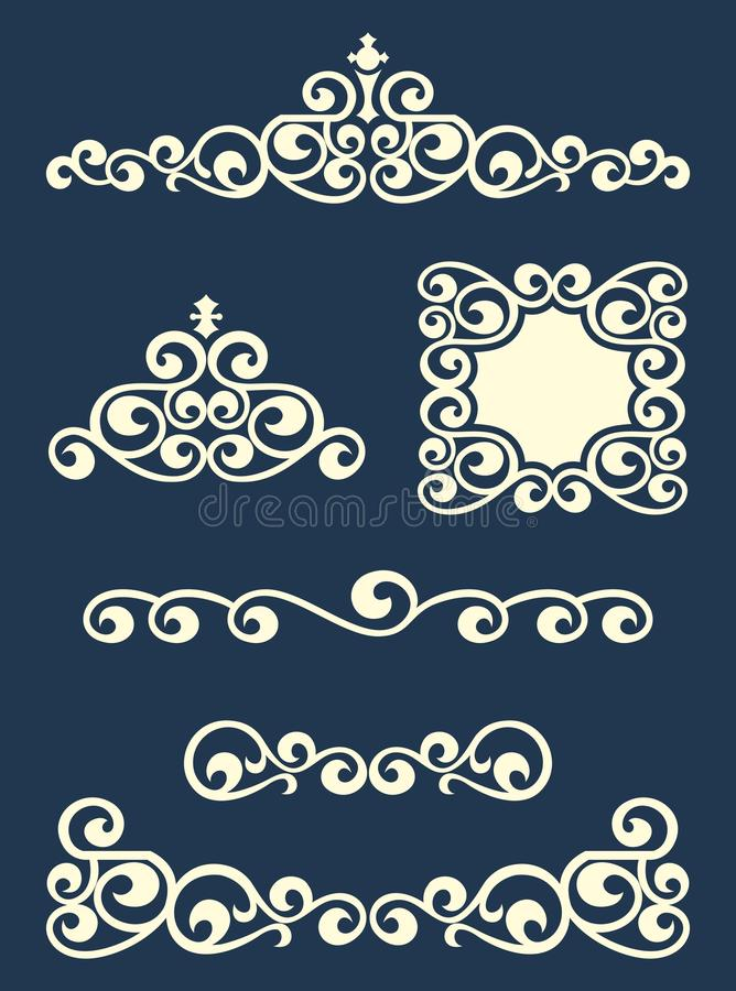 Page or text swirl dividers and decorations. Page and text dividers and decorative design elements, flat vector royalty free illustration