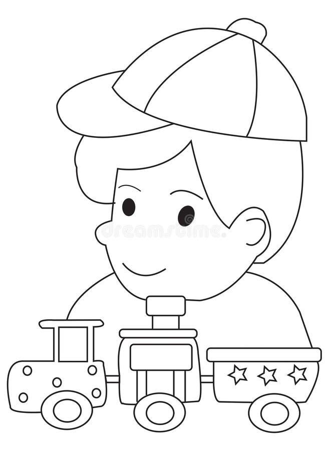 Page tirée par la main de coloration d'un garçon et de ses trains de jouet illustration de vecteur