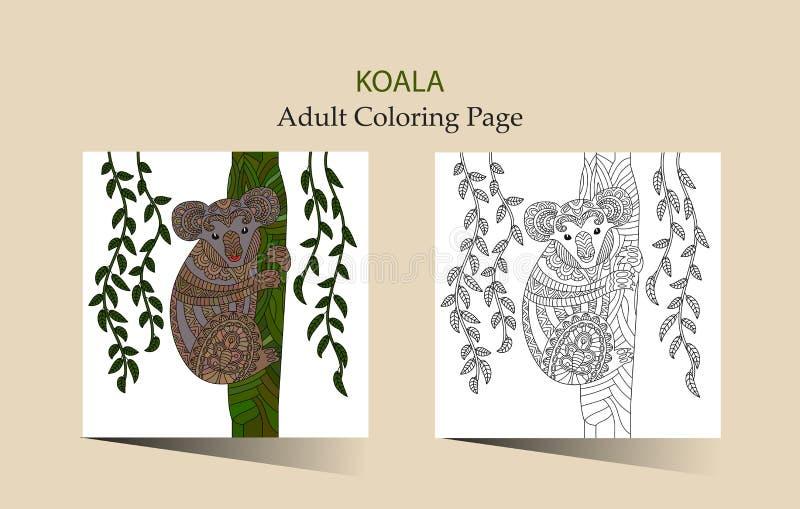 Page tirée par la main de coloration de zentangle de vecteur pour des adultes avec le koala mignon illustration libre de droits