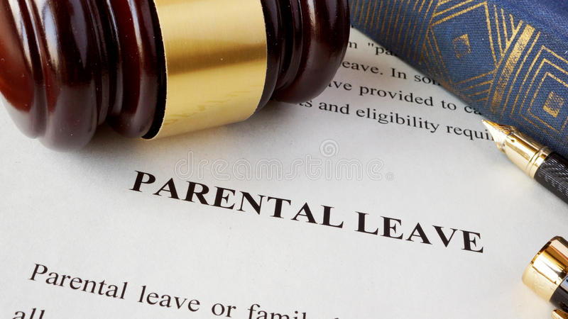 Page with title Parental leave. Page with title Parental leave and gavel royalty free stock photo