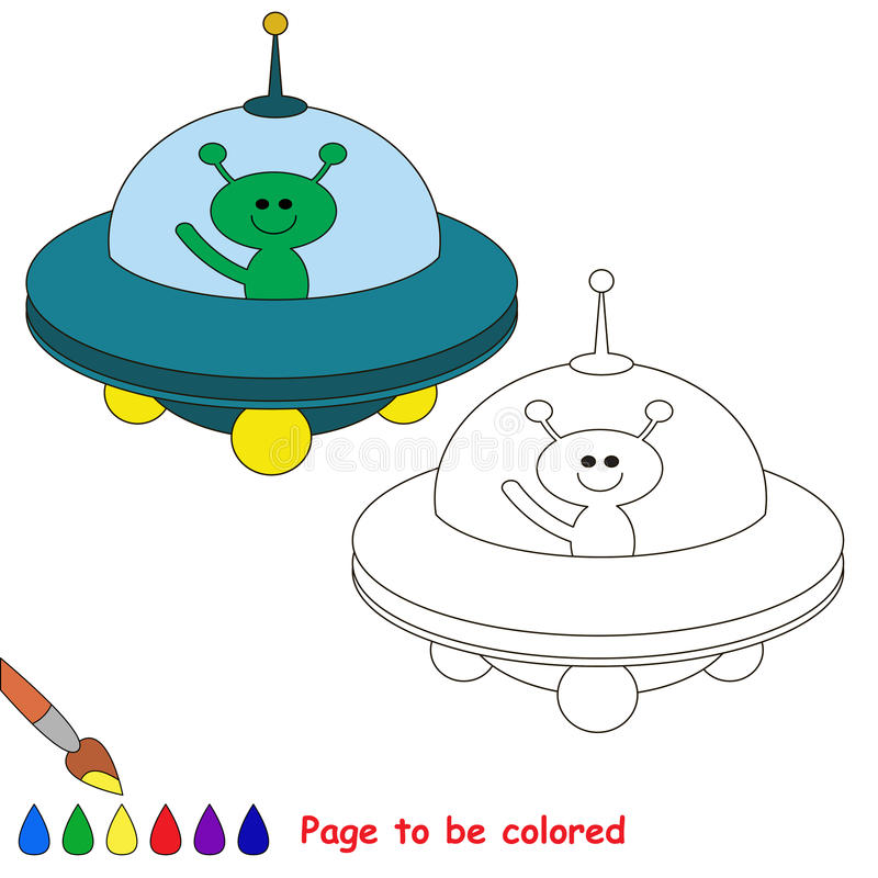 Page to be colored. Blue Ufo to be colored. Coloring book to educate preschool kids. Easy kid educational gaming and primary education of simple level of vector illustration