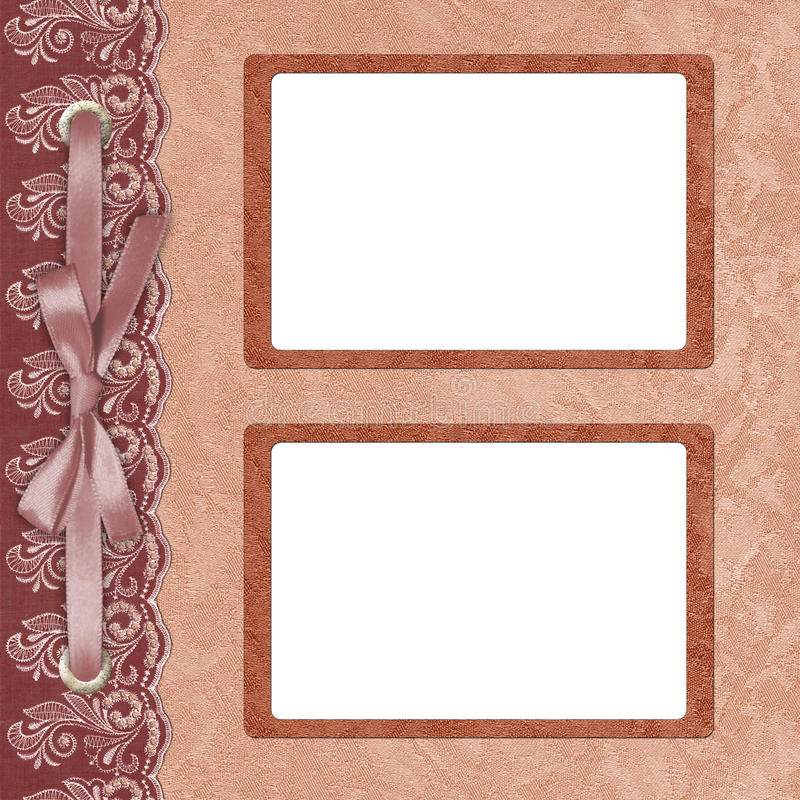 Page for two photo with a lace. royalty free illustration