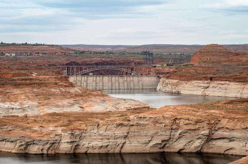 Scenic view of Glen Canyon Dam early morning near Page Arizona royalty free stock images