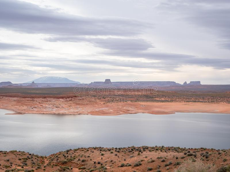 Scenic view of Lake Powell early morning near Page Arizona stock photography