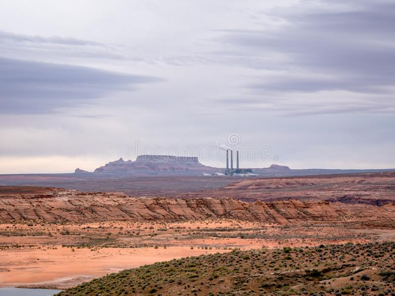 Scenic view of Salt River Project Navajo Generating Station early morning near Page Arizona stock photo