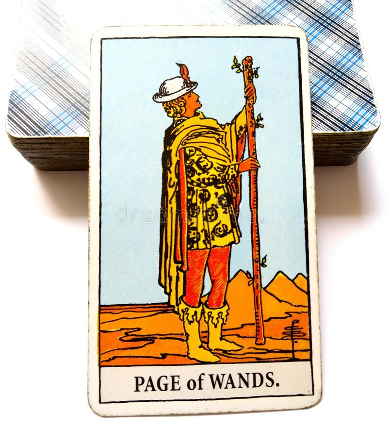 Page of Wands Tarot Card. Is Original, Innovative and Inventive. This card brings Adventure Exploration and Discovery stock photos