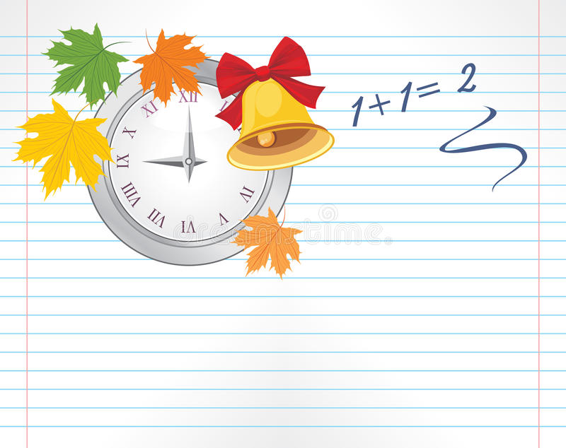 Download Page With Watch, Maple Leaves And School Bell Stock Vector - Image: 33247040