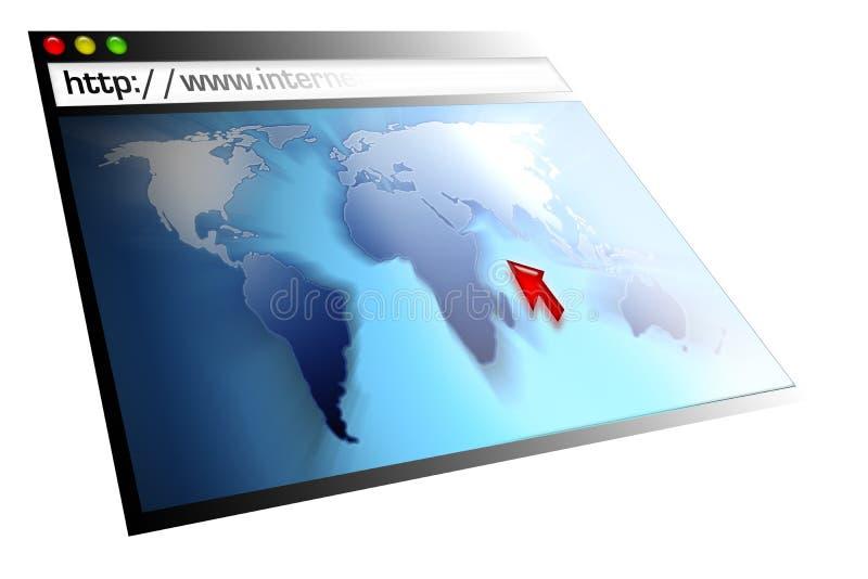Page Web avec la carte du monde illustration libre de droits