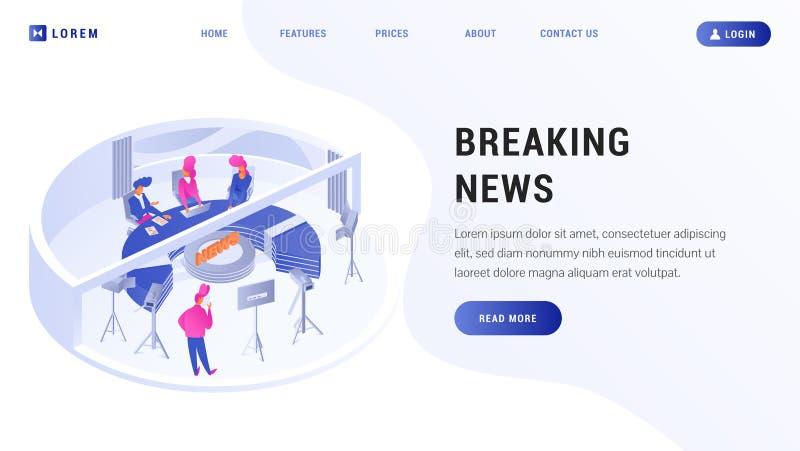 Page Web d'atterrissage de dernières nouvelles illustration stock