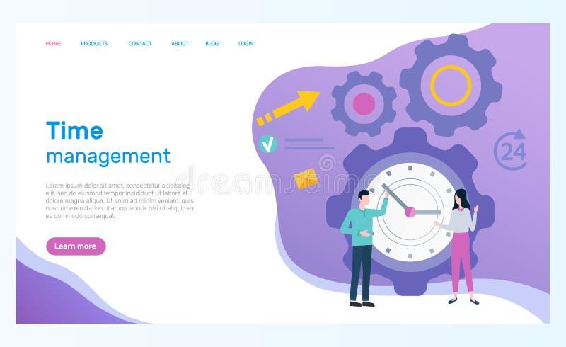 Page Web de gestion du temps, employés de bureau et horloge illustration stock