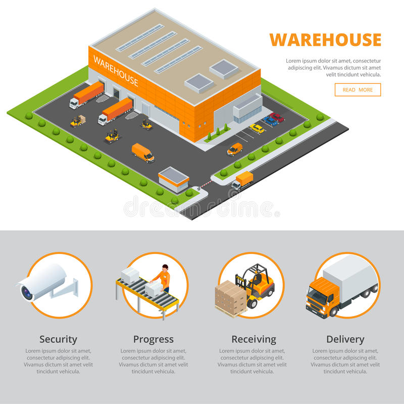 Page web design template set of flat vector web banners on for Warehouse layout template