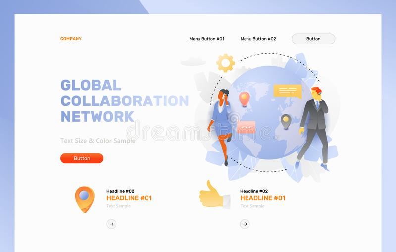 Page Web globale de réseau de collaboration illustration stock