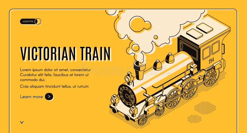 Page Web isométrique de vecteur de train victorien d'ère illustration libre de droits