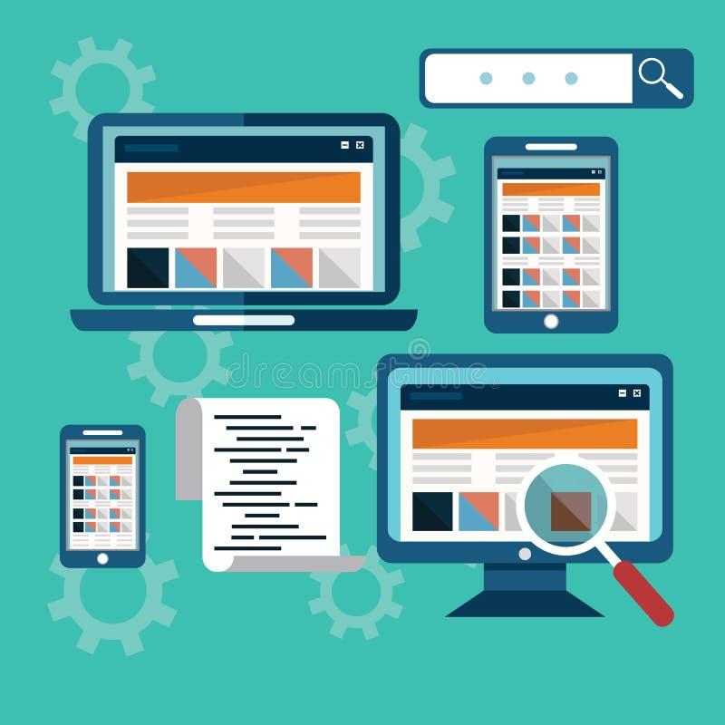 Page Web, optimisation de site sur différents dispositifs, codage de Web illustration stock