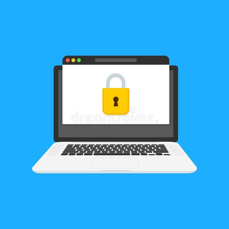 Page Web sous le bloc, accès limité password Illustration de vecteur illustration stock