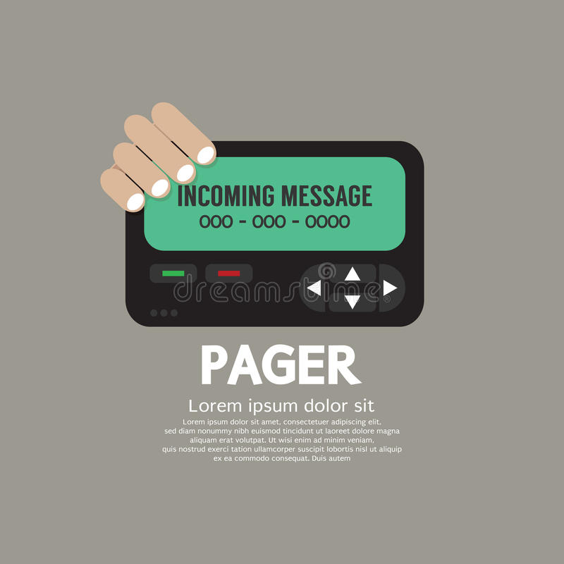 Pager The Old Wireless Telecommunication Technology. Vector Illustration royalty free illustration