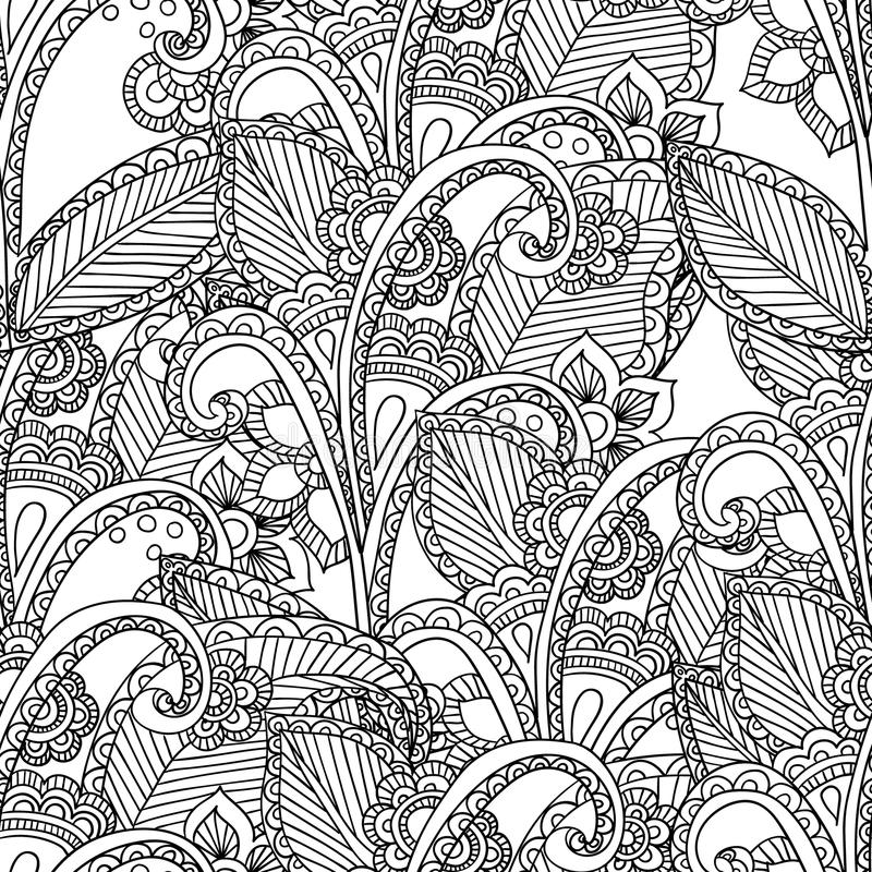 Pages for adult coloring book. Hand drawn artistic ethnic ornamental patterned floral frame in doodle. stock illustration