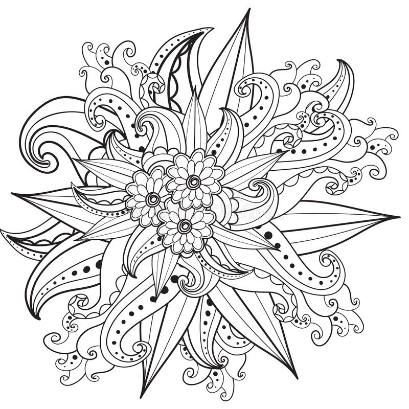Pages for adult coloring book. Hand drawn ornamental patterned floral frame in doodle style. royalty free illustration