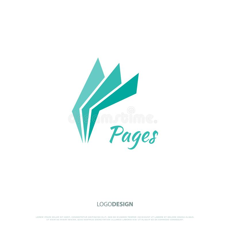 Pages. Blue pages icon. logo design, information concept. magazine symbol or digital document logotype. business school or bookstore sign vector illustration