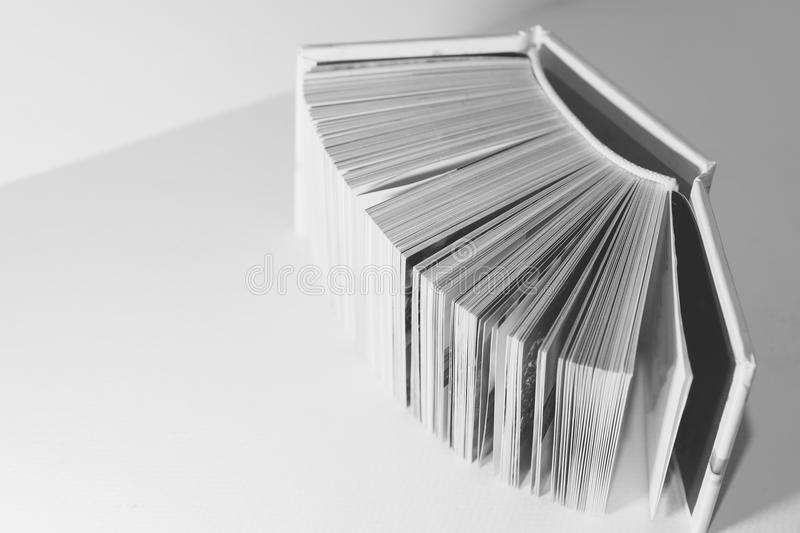 Pages of a book. Curved into a heart shape. book of love for Valentine's Day royalty free stock images