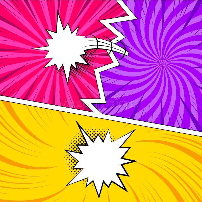 Pages comiques colorées avec les effets tramés illustration stock
