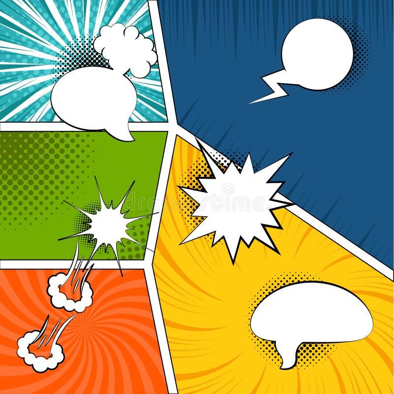 Pages comiques colorées avec les effets tramés illustration de vecteur