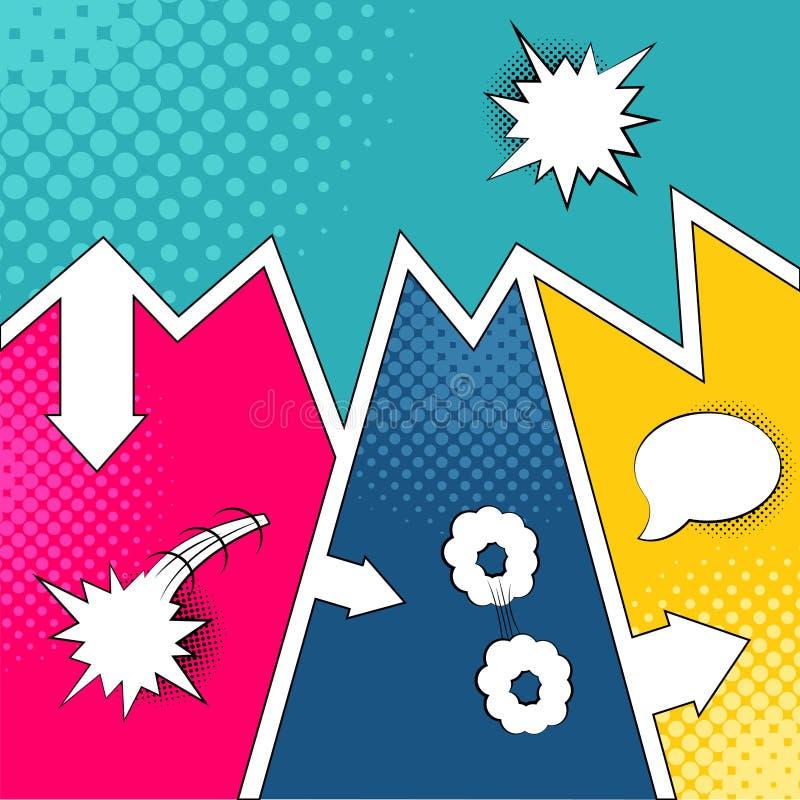 Pages comiques colorées avec les effets tramés illustration libre de droits