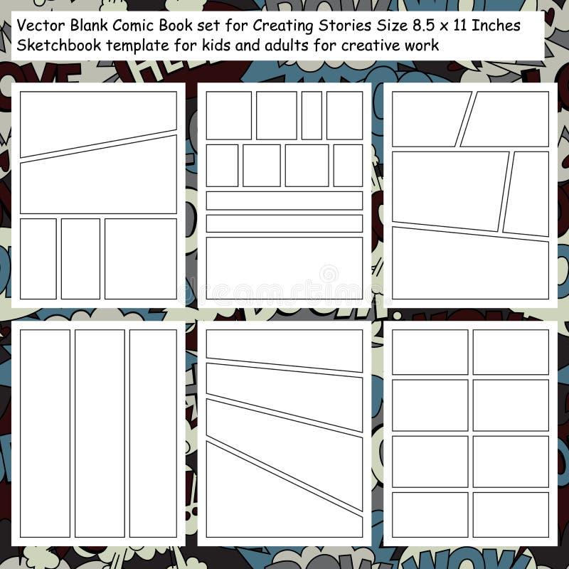 Pages comiques de carnet à dessins illustration libre de droits