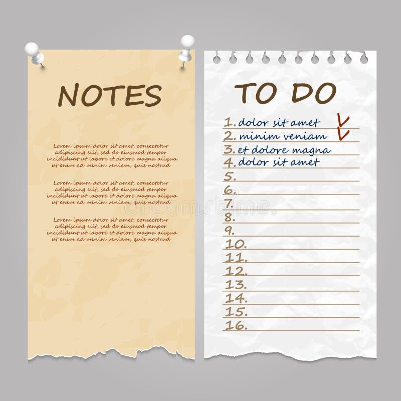 Pages déchirées pour des notes, note et pour faire la liste illustration de vecteur