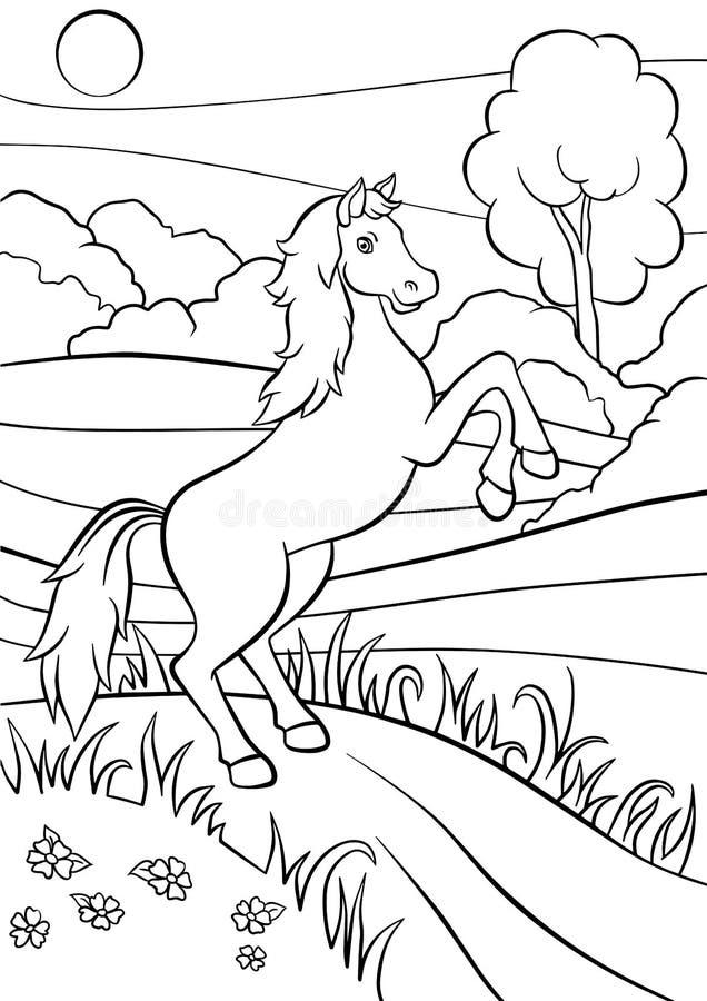 Pages de coloration animaux Cheval mignon illustration libre de droits