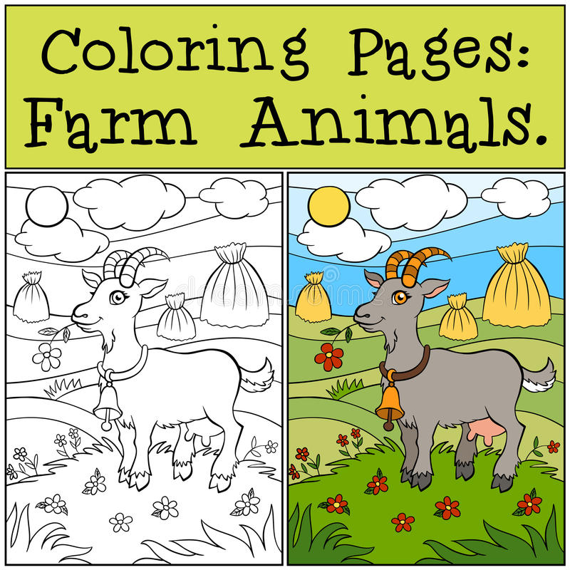 Pages de coloration : Animaux de ferme Chèvre mignonne illustration de vecteur