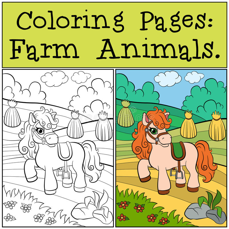 Pages de coloration : Animaux de ferme Petit poney mignon illustration de vecteur