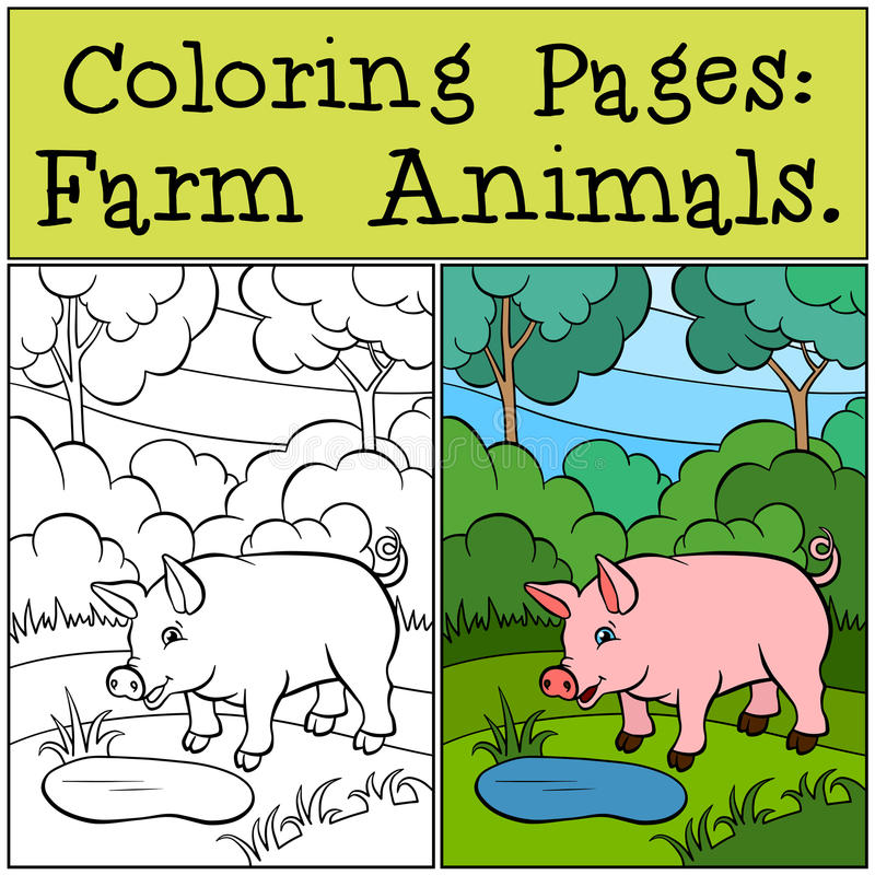 Pages de coloration : Animaux de ferme Petit porc mignon illustration de vecteur