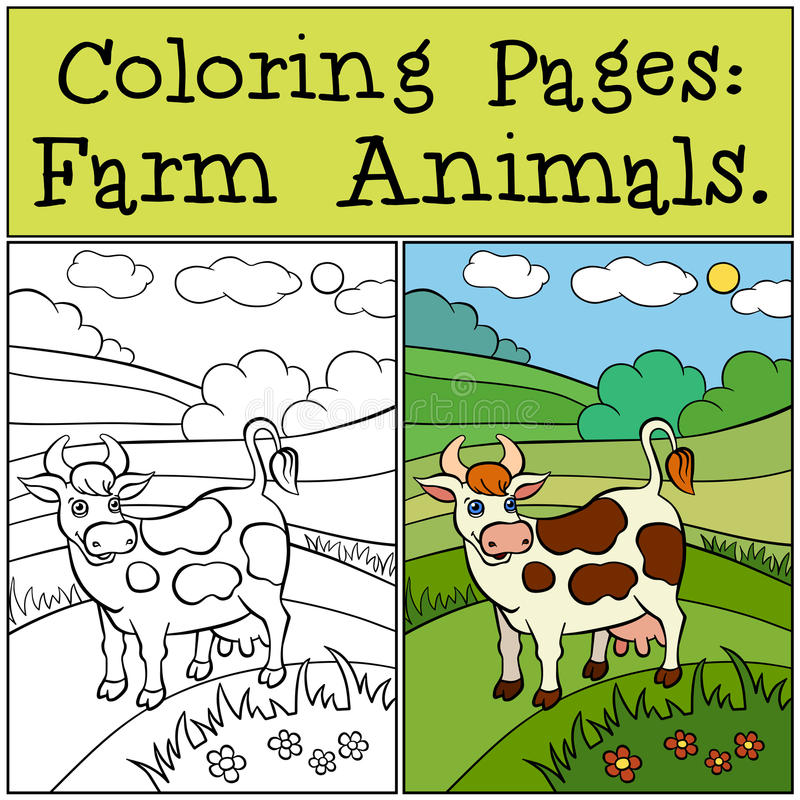 Pages de coloration : Animaux de ferme Vache mignonne illustration de vecteur