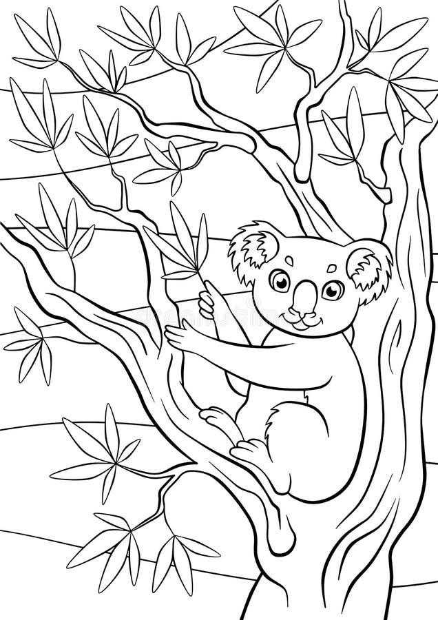 Pages de coloration animaux Petit koala mignon illustration libre de droits