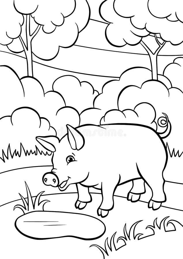 Pages de coloration animaux Petit porc mignon illustration de vecteur