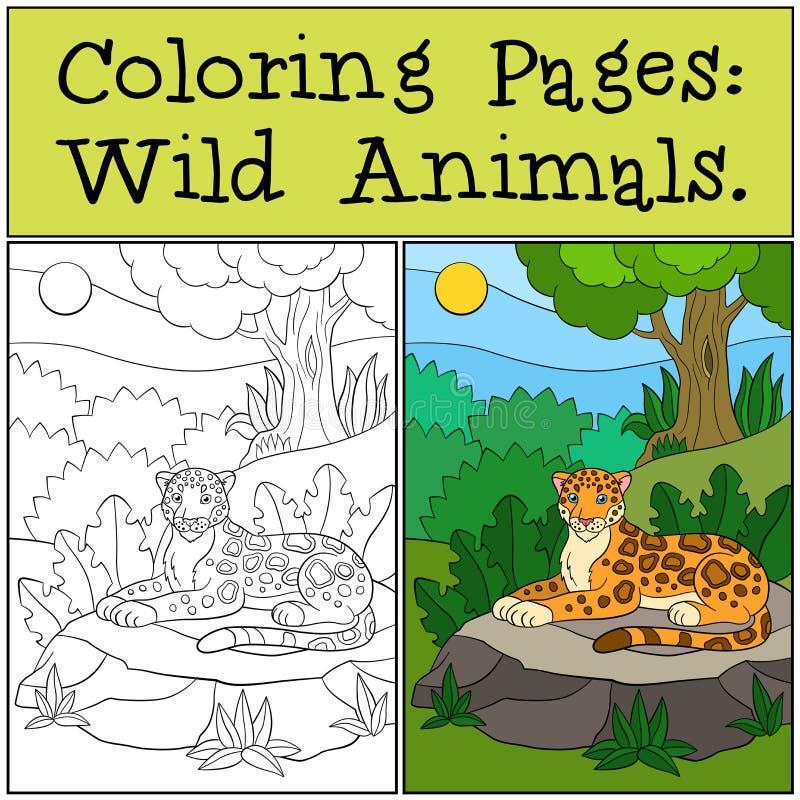 Pages de coloration : Animaux sauvages Petit jaguar mignon dans la forêt illustration libre de droits
