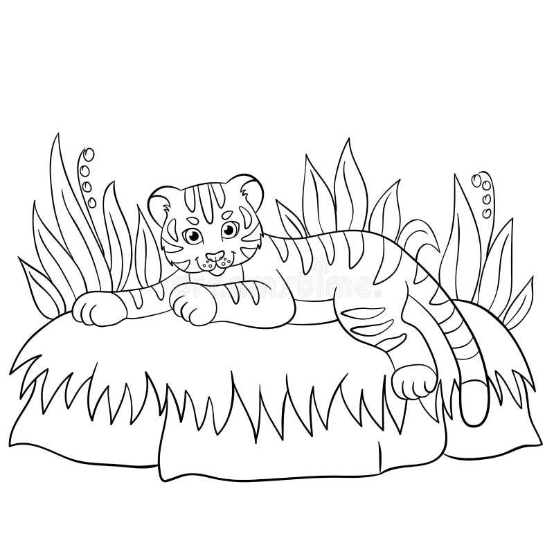 Pages de coloration Animaux sauvages Petits sourires mignons de tigre de bébé illustration stock