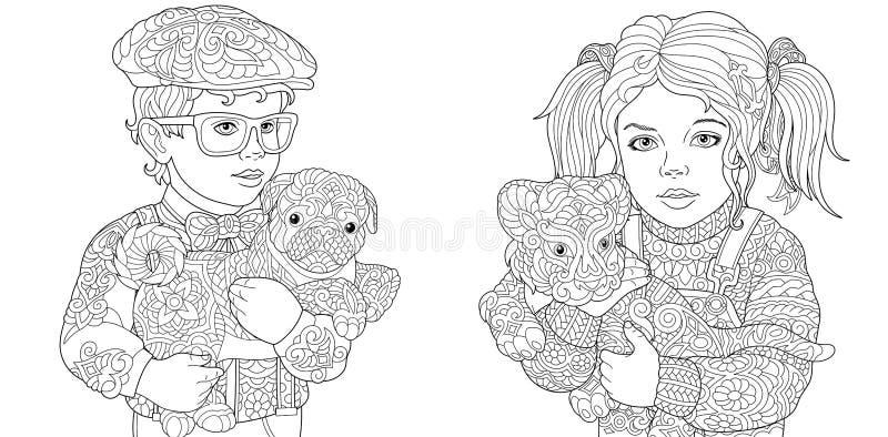 Pages de coloration avec le garçon et la fille tenant des animaux de bébé illustration stock