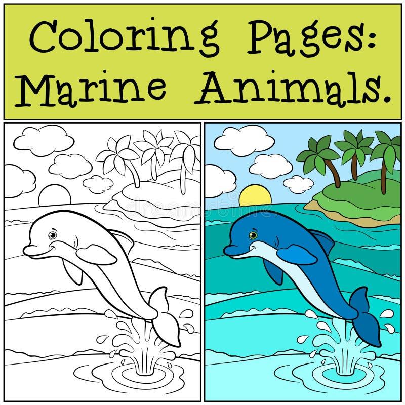 Pages de coloration : Marine Animals Le petit dauphin mignon saute illustration stock