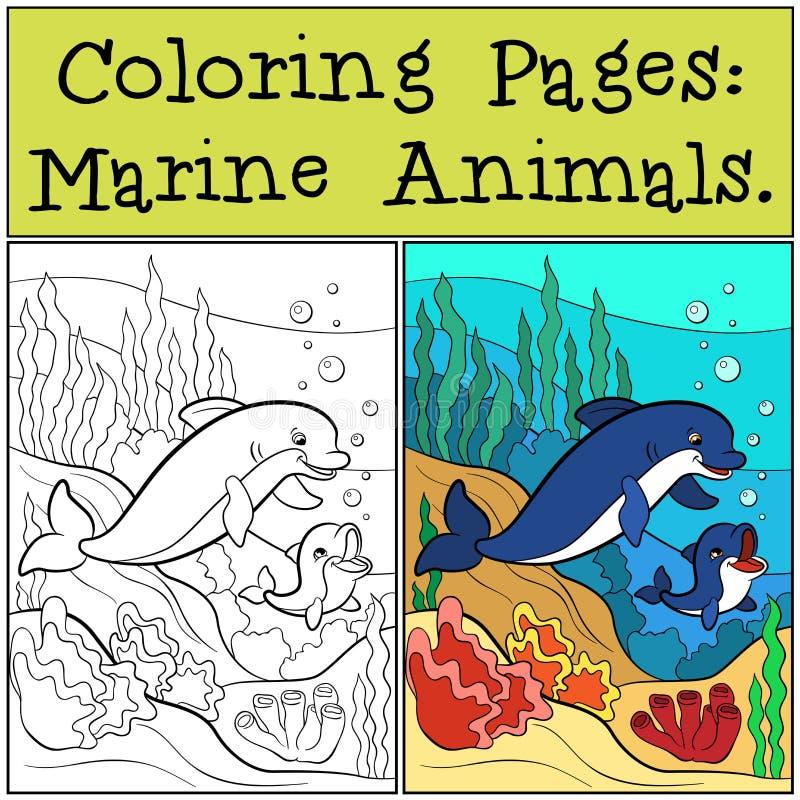 Pages de coloration : Marine Animals Pages de coloration de mère : Marine Animals illustration de vecteur