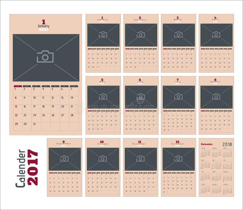 2017 pages de planificateur de calendrier image libre de droits