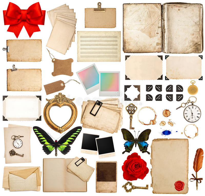 Pages de vieux livre, feuilles de papier, coin et cadres de photo images stock