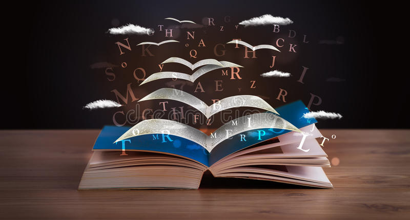 Pages and glowing letters flying out of a book vector illustration