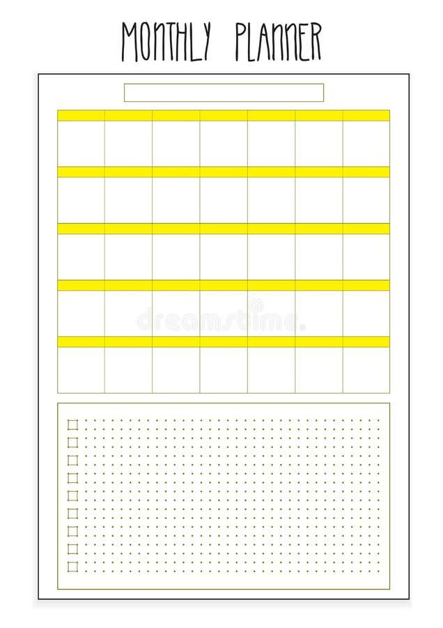 Pages imprimables de planificateur mensuel calibre d'organisateur de vecteur illustration stock