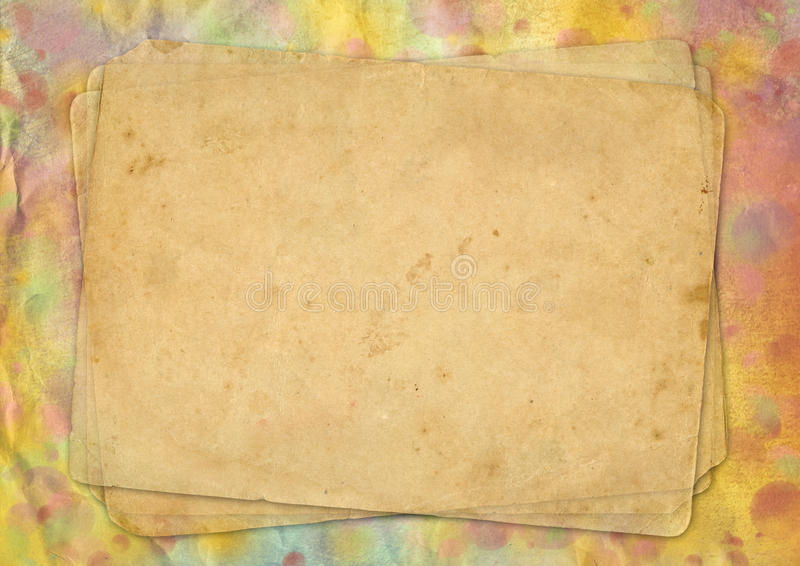 Pages of the old yellow paper. On background surface with varicolored spots. Texture for design vector illustration
