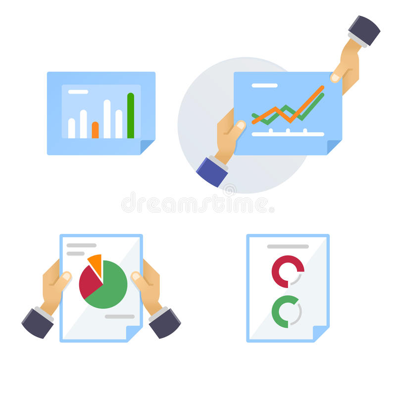 Pages of statistical and analytical information stock illustration