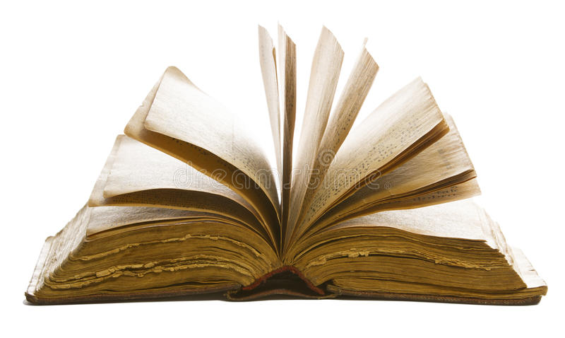 Pages vides ouvertes de livre vieilles, papier jaune d'isolement sur le blanc images stock