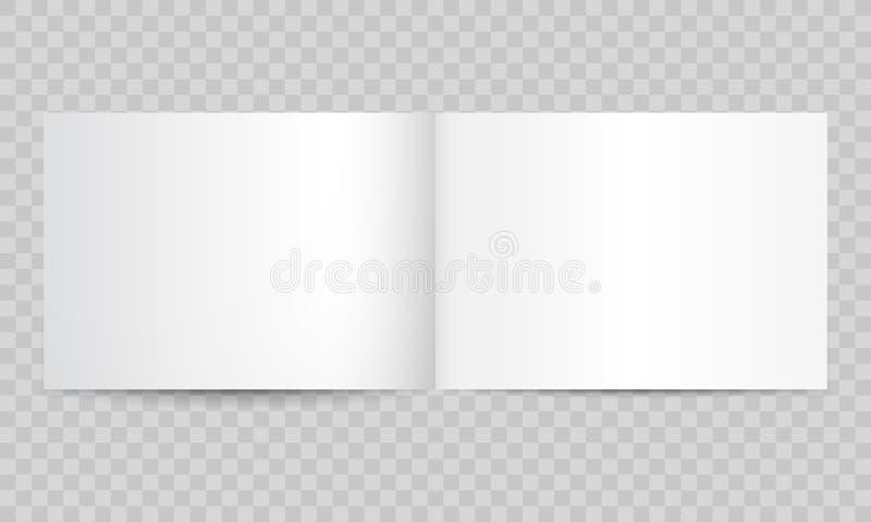Pages vides ouvertes de magazine de livre Dirigez la maquette horizontale d'isolement de livret d'album de brochure ou de paysage illustration libre de droits