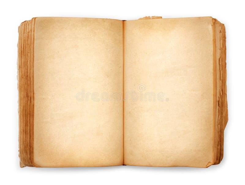 Pages vides ouvertes de vieux livre, papier jaune vide photos libres de droits